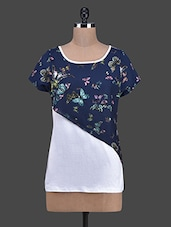 Butterfly Printed Cotton & Georgette Top - RUTE