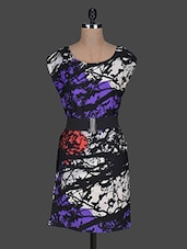 Round Neck Printed Polyester Dress - Queens
