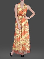 Yellow Floral Printed Maxi Dress - LABEL Ritu Kumar
