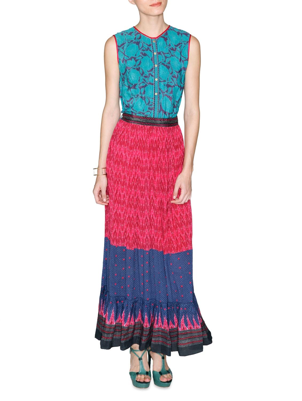Multicolored Printed Viscose Crepe Maxi Dress - LABEL Ritu Kumar