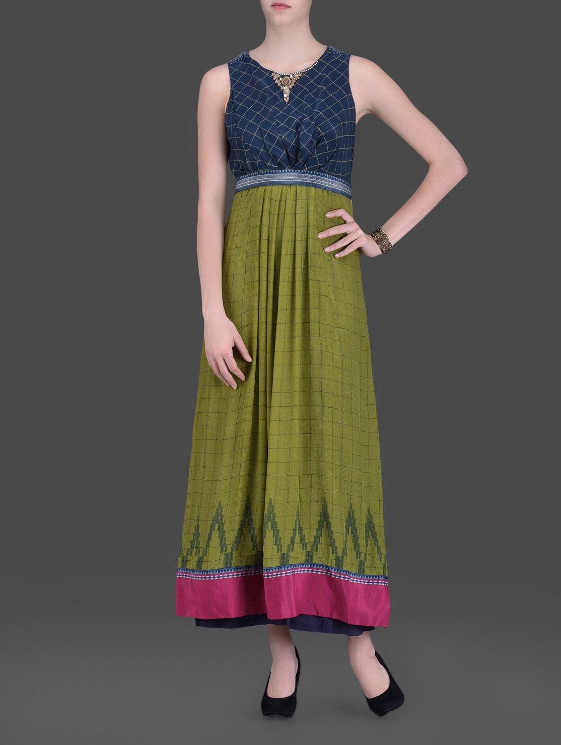 Olive Green Embellished Maxi Dress - LABEL Ritu Kumar