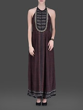 Brown Halter-neck Maxi Dress - LABEL Ritu Kumar