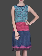 Blue Printed Mid-Length Dress - LABEL Ritu Kumar