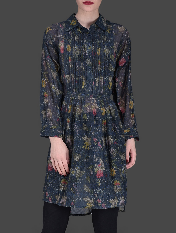 Navy Blue Printed Asymmetric Dress - LABEL Ritu Kumar