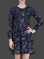 Navy Blue Printed Short Dress - LABEL Ritu Kumar