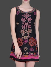 Black Embroidered Sleeveless Tunic - LABEL Ritu Kumar