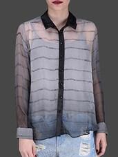 Monochrome Printed Full-sleeved Shirt - LABEL Ritu Kumar