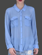 Blue Full-sleeved Collared Shirt - LABEL Ritu Kumar