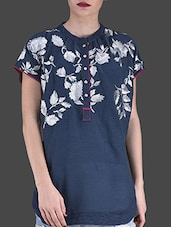 Navy Blue Embroidered Short-sleeved Shirt - LABEL Ritu Kumar