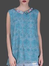 Blue Printed Sleeveless Top - LABEL Ritu Kumar