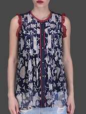 Navy Blue Pleated Floral Print Top - LABEL Ritu Kumar