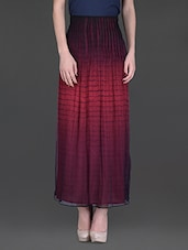 Maroon And Black Printed Long Skirt - LABEL Ritu Kumar