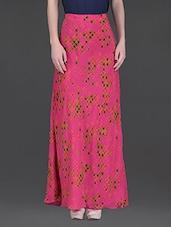 Fuchsia Printed Viscose Crepe Maxi Skirt - LABEL Ritu Kumar