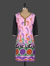 Quarter Sleeves V Neck Printed Cotton Kurta - Kyaara