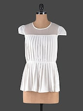 White Pleated Top With Sheer Neck Panel - Muse Couture
