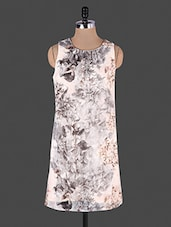 White Floral Printed Sleeveless Georgette Dress - Lamora Get High In Fashion
