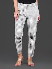 Black Printed Cotton Lycra Ankle Length Stretchable Pant - Lamora Get High In Fashion