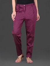 Red Plain Cotton Ankle Length Pant - Lamora Get High In Fashion
