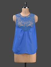 Round Neck Sleeveless Lace Yoke Georgette Top - KARYN