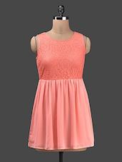 Lace Top Flared Sleeveless Georgette Dress - KARYN