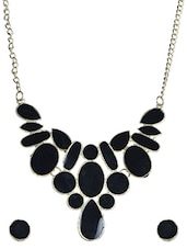 Enamelled Black Necklace And Ear Studs Set - By