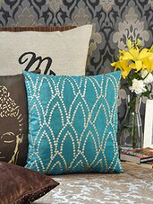 Embellished Teal Square Cushion Cover - By
