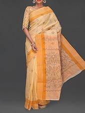 Yellow Kantha Embroidered Cotton Saree - Komal Sarees