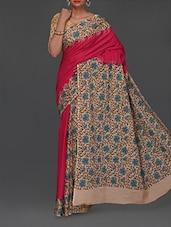 Floral Print Kalamkari Malmal Saree - Komal Sarees