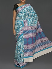 Floral Printed Pallu Blue Printed Saree - Komal Sarees