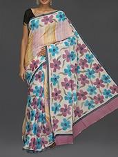 Floral Printed Pallu With Border Saree - Komal Sarees