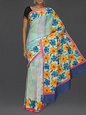 Leaf Printed Pallu With Border Saree - Komal Sarees