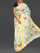 Floral Print Handloom Cotton Saree - Komal Sarees