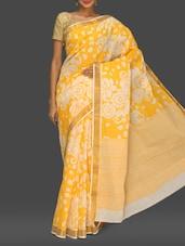 Yellow Floral Print Handloom Cotton Saree - Komal Sarees