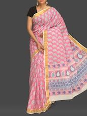 Pink Paisley Print Handloom Cotton Saree - Komal Sarees