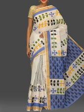 White Printed Handloom Kerala Cotton Saree - Komal Sarees