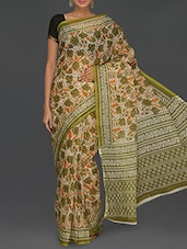 Floral With Leaf Printed Green Kota Saree - Komal Sarees