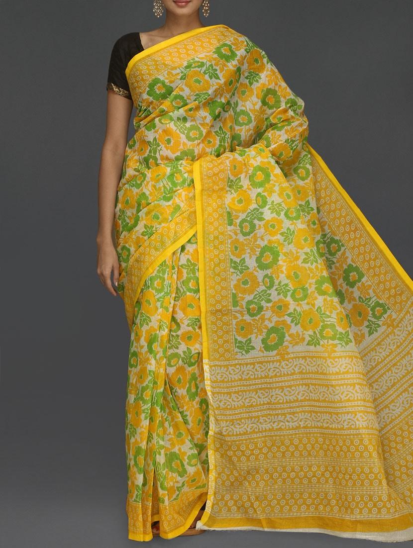Floral With Leaf Printed Yellow Kota Saree - Komal Sarees
