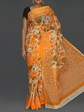 Orange Floral Printed Kota Saree - Komal Sarees