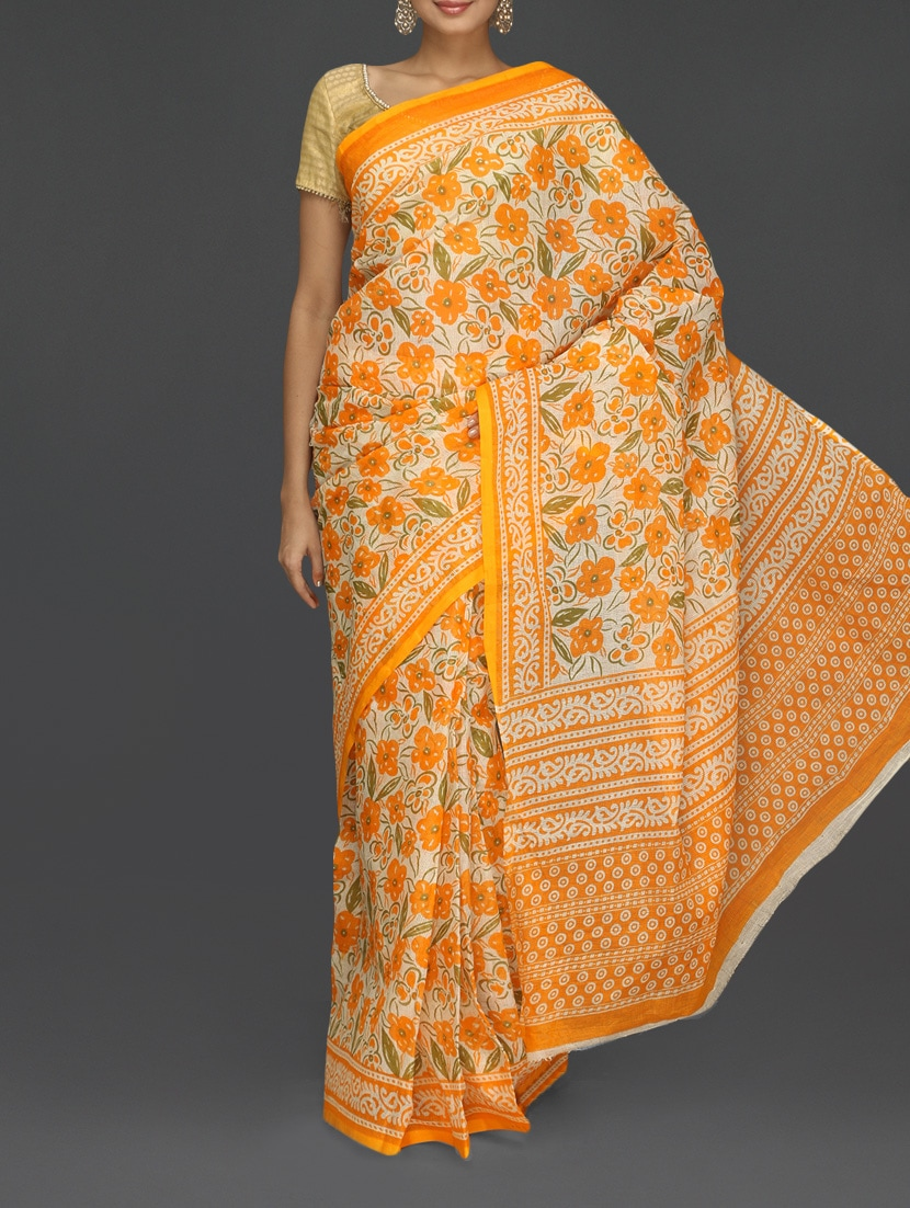 Orange Floral With Leaf Printed Kota Saree - Komal Sarees