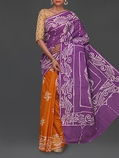 Batik Print Half & Half Cotton Saree - Komal Sarees