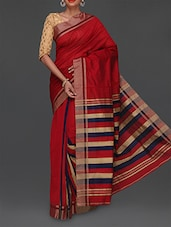Red Stripped Pallu Cotton Saree - Komal Sarees