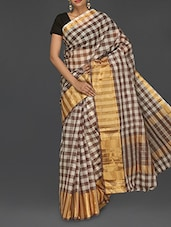 Check Printed Zari Handloom Cotton Saree - Komal Sarees