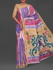 Floral Hand Painted Pallu Handloom Cotton Saree - Komal Sarees