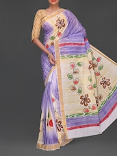 Floral Hand Painted Handloom Cotton Saree - Komal Sarees