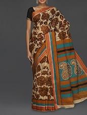 Scroll Paisley Pallu Brown Floral Printed Saree - Komal Sarees