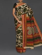 Scroll Paisley Pallu Green Floral Printed Saree - Komal Sarees