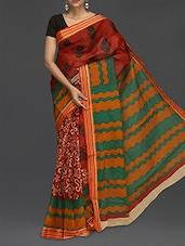 Floral Printed Wavy Pallu Saree - Komal Sarees