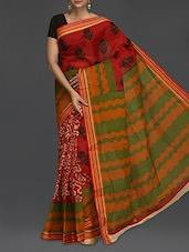 Floral Printed Green Wavy Pallu Saree - Komal Sarees
