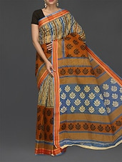 Striped Border Multicolor Cotton Saree - Komal Sarees