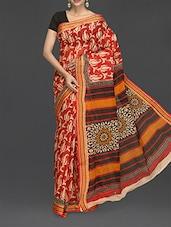 Paisley Printed Striped Border Handloom Cotton Saree - Komal Sarees